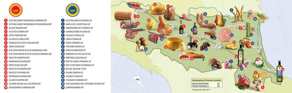 L'Emilia Romagna è la regione italiana con il maggior numero di prodotti DOP (Denominazione di Origine Protetta) e IGP (Indicazione Geografica Protetta), ben 35 in totale.