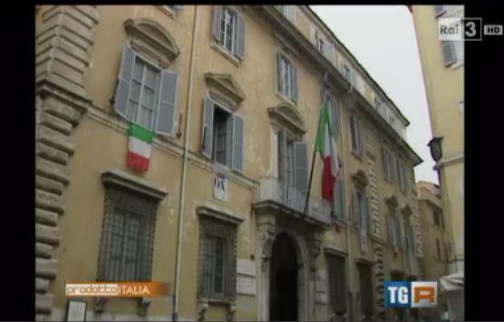 Immagine tratta dal servizio RAI. Esterni della sede nazionale a Roma
