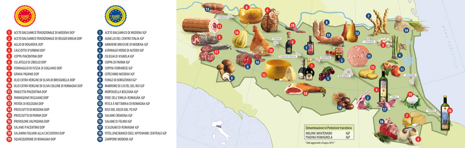 Emilia Romagna is the Italian region with the highest number of PDO (Protected Designation of Origin) and PGI (Protected Geographical Indication), as many as 35 in total.